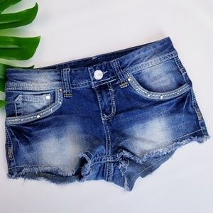 Mini Cutoffs Bedazzled Embalished Distressed Short